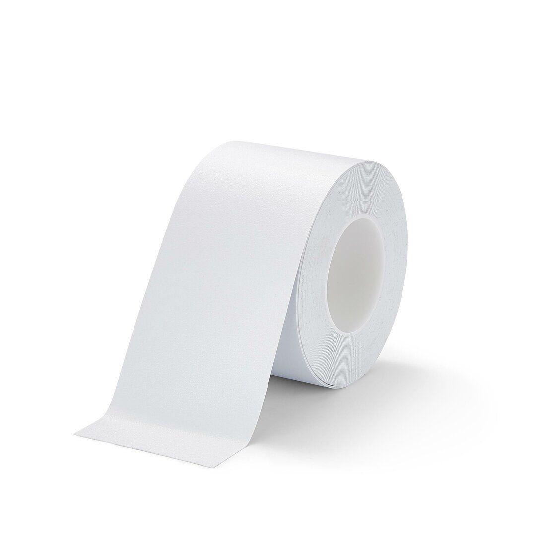 Bílá plastová voděodolná protiskluzová páska FLOMA Resilient Standard - délka 18,3 m, šířka 10 cm a tloušťka 0,58 mm
