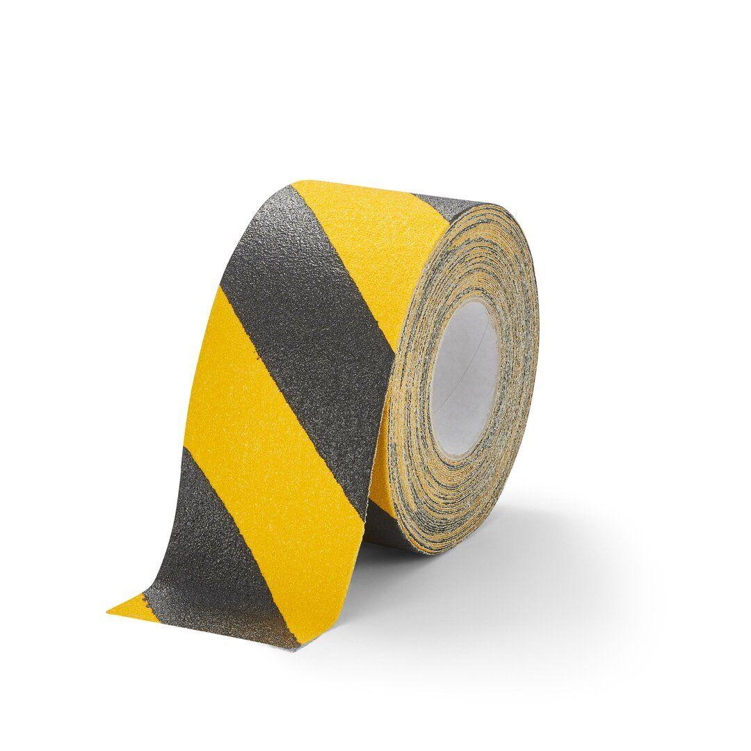 Černo-žlutá korundová protiskluzová páska pro nerovné povrchy FLOMA Hazard Conformable - délka 18,3 m, šířka 10 cm a tloušťka 1,1 mm
