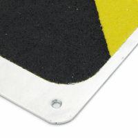 Černo-žlutý hliníkový protiskluzový nášlap na schody FLOMA Hazard Bolt Down Plate - délka 63,5 cm a šířka 11,5 cm