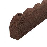 Hnědý gumový zahradní obrubník FLOMA Scalloped - délka 120 cm, šířka 5 cm a výška 10 cm