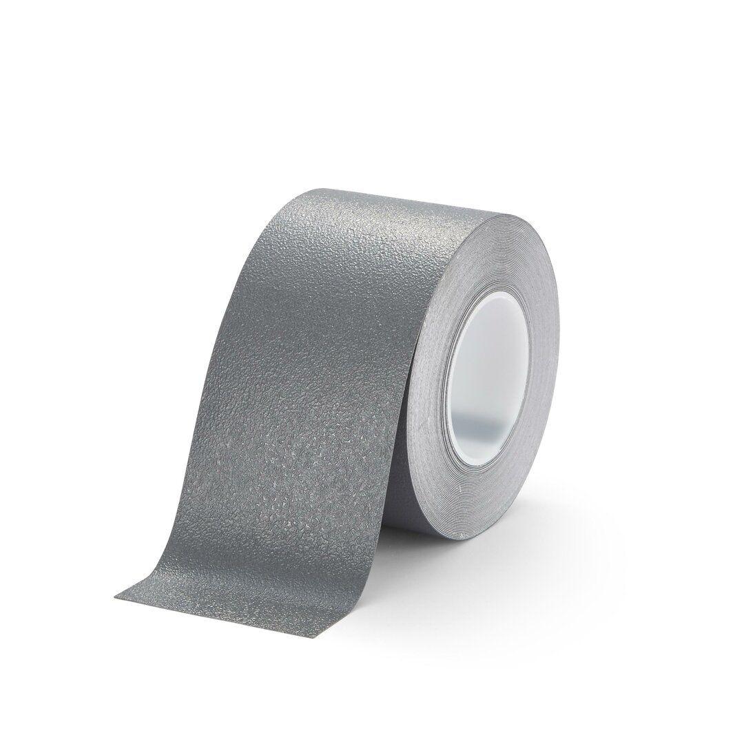 Šedá plastová voděodolná protiskluzová páska FLOMA Aqua-Safe - délka 18,3 m, šířka 10 cm a tloušťka 0,7 mm