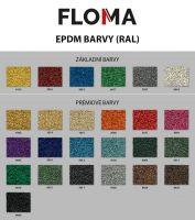 Černo-bílo-červená gumová modulová puzzle dlažba (okraj) FLOMA FitFlo SF1050 - délka 47,8 cm, šířka 47,8 cm a výška 0,8 cm