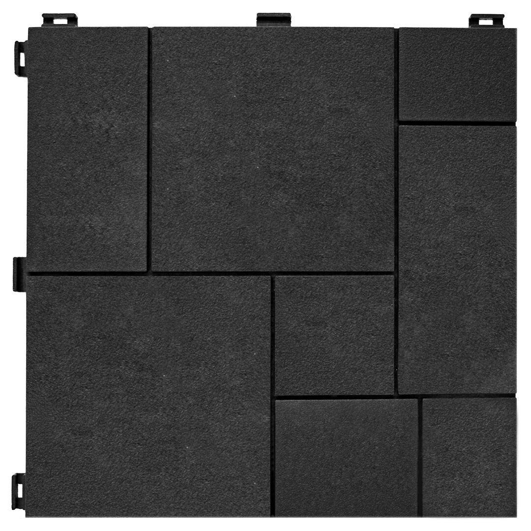 Grafitová gumová terasová dlažba FLOMA Mosaic - délka 30 cm, šířka 30 cm a výška 1,5 cm
