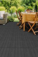 Šedá gumová terasová dlažba FLOMA Cosmopolitan - délka 30 cm, šířka 30 cm a výška 1,5 cm