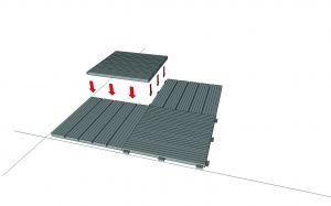 Šedá gumová terasová dlažba FLOMA Cosmopolitan - délka 45 cm, šířka 45 cm a výška 2,5 cm