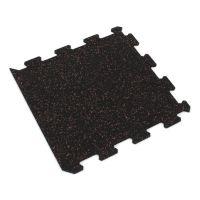 Černo-červená gumová modulová puzzle dlažba (okraj) FLOMA FitFlo SF1050 - délka 47,8 cm, šířka 47,8 cm a výška 0,8 cm