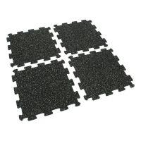 Černo-zelená gumová modulová puzzle dlažba (střed) FLOMA FitFlo SF1050 - délka 47,8 cm, šířka 47,8 cm a výška 0,8 cm