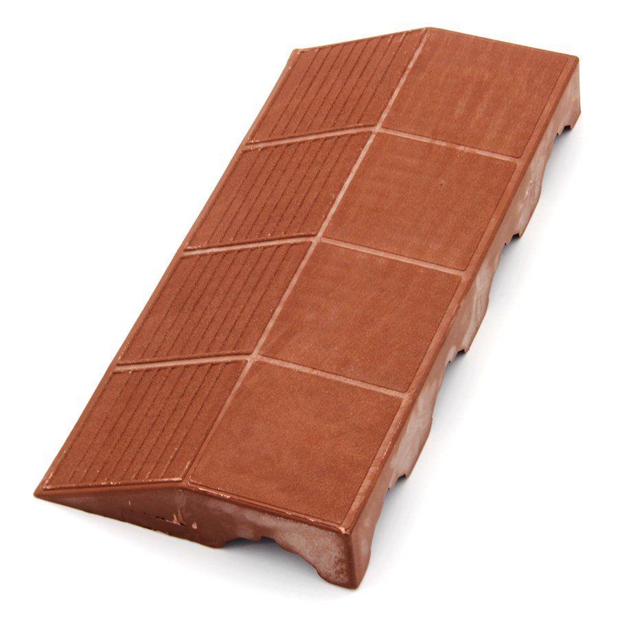 """Hnědý plastový nájezd """"samice"""" pro terasovou dlažbu Linea Combi - délka 40 cm, šířka 19,5 cm a výška 4,8 cm"""
