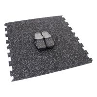 Černo-bílá gumová modulová puzzle dlažba (okraj) FLOMA FitFlo SF1050 - délka 47,8 cm, šířka 47,8 cm a výška 0,8 cm