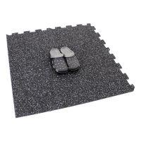 Černo-bílá gumová modulová puzzle dlažba (střed) FLOMA SF1050 FitFlo - délka 95,6 cm, šířka 95,6 cm a výška 0,8 cm