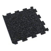 Černo-bílo-modrá gumová modulová puzzle dlažba (okraj) FLOMA FitFlo SF1050 - délka 95,6 cm, šířka 95,6 cm a výška 0,8 cm