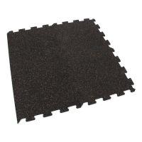 Černo-červená gumová modulová puzzle dlažba (okraj) FLOMA SF1050 FitFlo - délka 95,6 cm, šířka 95,6 cm a výška 0,8 cm