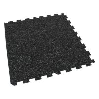 Černo-šedá gumová modulová puzzle dlažba (okraj) FLOMA SF1050 FitFlo - délka 95,6 cm, šířka 95,6 cm a výška 0,8 cm