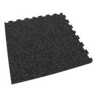 Černo-zelená gumová modulová puzzle dlažba (roh) FLOMA FitFlo SF1050 - délka 47,8 cm, šířka 47,8 cm a výška 0,8 cm