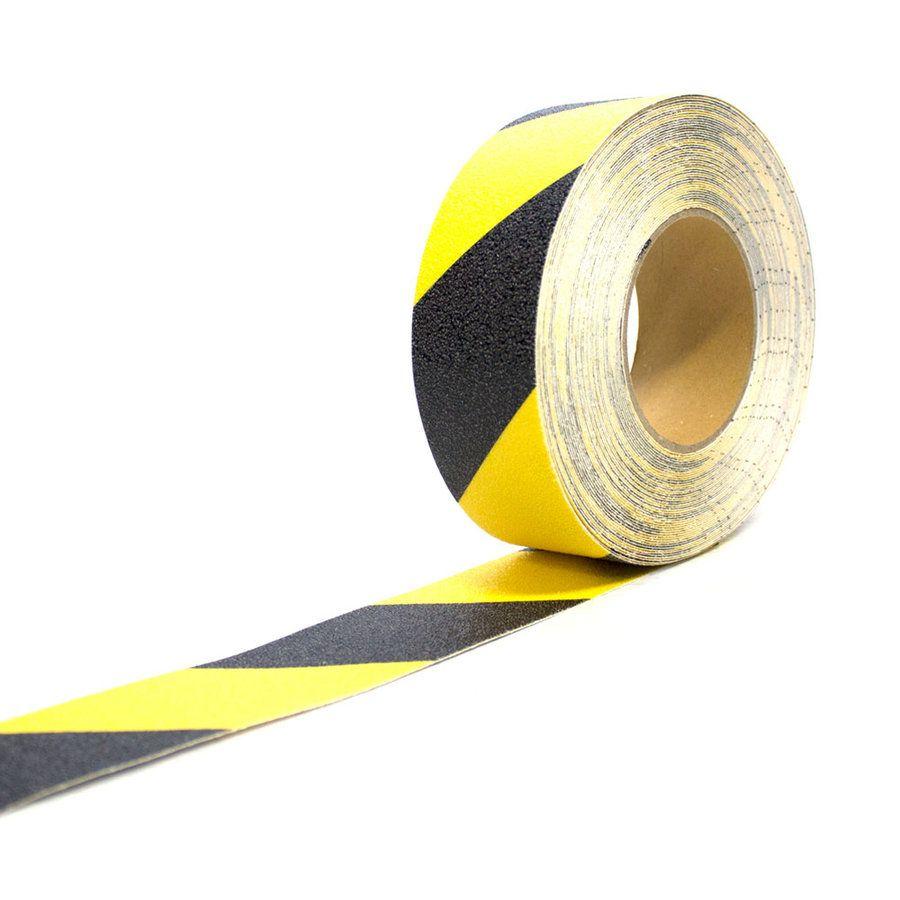 Černo-žlutá korundová protiskluzová páska - délka 18,3 m a šířka 5 cm FLOMAT