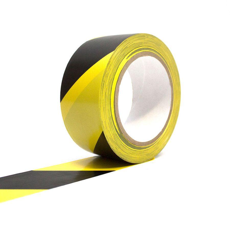 Černo-žlutá podlahová vyznačovací páska - délka 33 m a šířka 5 cm FLOMAT