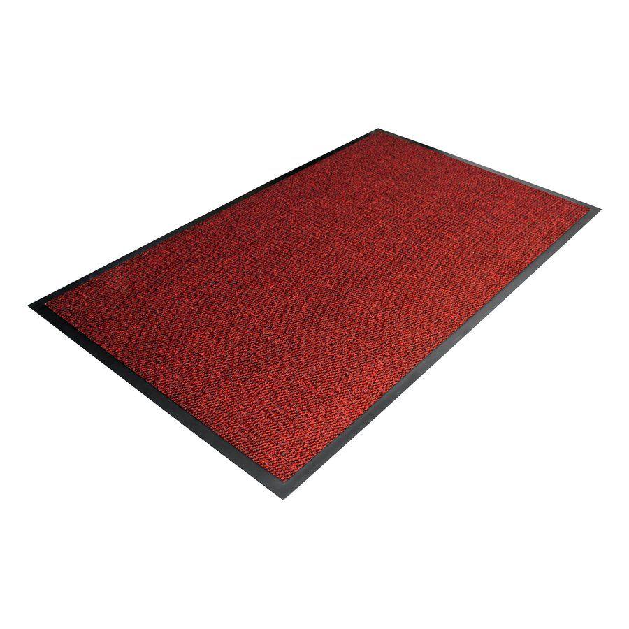 Červená textilní čistící vnitřní vstupní rohož - délka 60 cm, šířka 90 cm a výška 0,7 cm FLOMAT