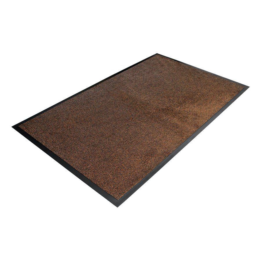 Hnědá textilní vstupní vnitřní čistící rohož - délka 60 cm, šířka 85 cm a výška 0,9 cm FLOMAT