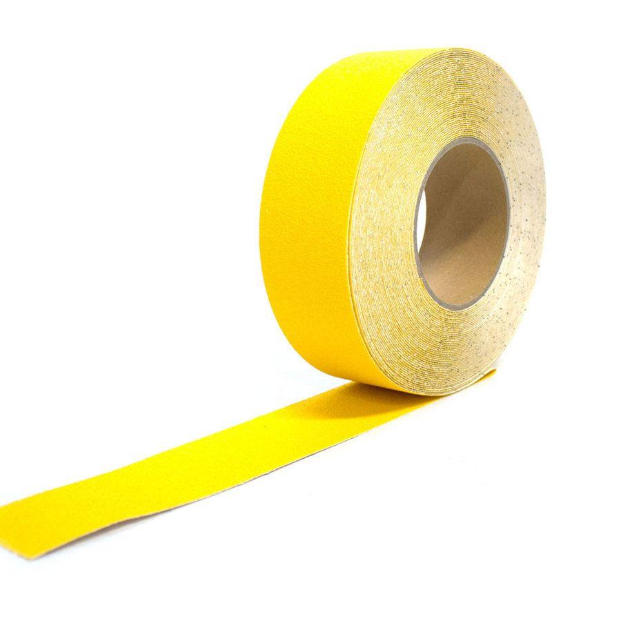 Žlutá korundová protiskluzová páska - délka 18,3 m a šířka 5 cm FLOMAT
