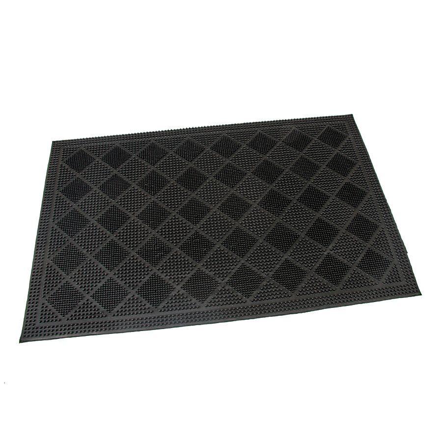Gumová čistící venkovní vstupní rohož FLOMA Squares - délka 45 cm, šířka 75 cm a výška 0,7 cm