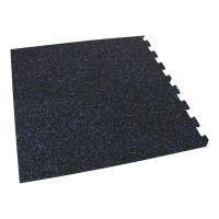 Černo-modrá gumová modulová puzzle dlažba (roh) FLOMA FitFlo SF1050 - délka 47,8 cm, šířka 47,8 cm a výška 0,8 cm