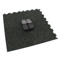 Černo-zelená gumová modulová puzzle dlažba (okraj) FLOMA IceFlo SF1100 - délka 95,6 cm, šířka 95,6 cm a výška 0,8 cm
