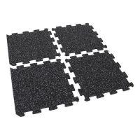 Černo-bílá gumová modulová puzzle dlažba (okraj) FLOMA IceFlo SF1100 - délka 47,8 cm, šířka 47,8 cm a výška 0,8 cm