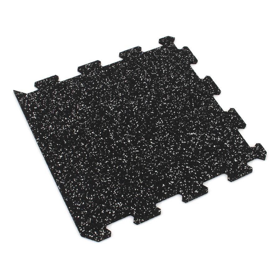 Černo-bílá gumová modulová puzzle dlažba (okraj) FLOMA IceFlo SF1100 - délka 95,6 cm, šířka 95,6 cm a výška 0,8 cm