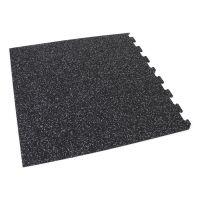 Černo-bílá gumová modulová puzzle dlažba (roh) FLOMA IceFlo SF1100 - délka 95,6 cm, šířka 95,6 cm a výška 0,8 cm