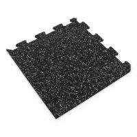 Černo-bílá gumová modulová puzzle dlažba (roh) FLOMA IceFlo SF1100 - 47,8 x 47,8 x 0,8 cm