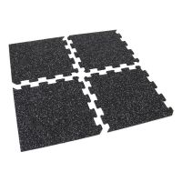 Černo-bílá gumová modulová puzzle dlažba (roh) FLOMA IceFlo SF1100 - délka 47,8 cm, šířka 47,8 cm a výška 0,8 cm