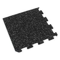 Černo-bílá gumová modulová puzzle dlažba (roh) FLOMA IceFlo SF1100 - 95,6 x 95,6 x 0,8 cm