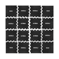 Černo-bílá gumová modulová puzzle dlažba (střed) FLOMA IceFlo SF1100 - délka 47,8 cm, šířka 47,8 cm a výška 0,8 cm