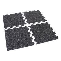 Černo-bílá gumová modulová puzzle dlažba (střed) FLOMA IceFlo SF1100 - délka 95,6 cm, šířka 95,6 cm a výška 0,8 cm