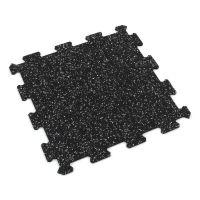 Černo-bílá gumová modulová puzzle dlažba (střed) FLOMA IceFlo SF1100 - 95,6 x 95,6 x 0,8 cm