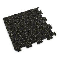 Černo-žlutá gumová modulová puzzle dlažba (roh) FLOMA IceFlo SF1100 - délka 47,8 cm, šířka 47,8 cm a výška 0,8 cm