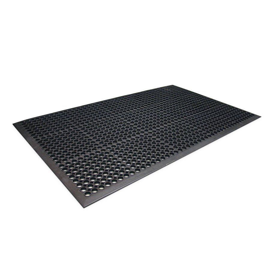 Černá gumová protiúnavová průmyslová rohož - délka 150 cm, šířka 90 cm a výška 1 cm FLOMAT
