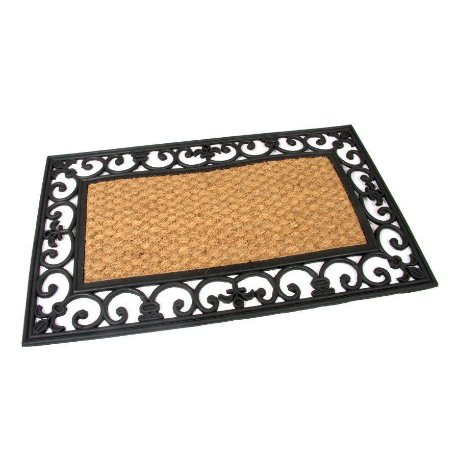Kokosová čistící venkovní vstupní rohož Rectangle - Deco, FLOMAT - délka 45 cm, šířka 75 cm a výška 1,2 cm
