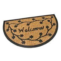 Kokosová čistící venkovní vstupní půlkruhová rohož Welcome - Deco, FLOMAT - délka 45 cm, šířka 75 cm a výška 0,8 cm