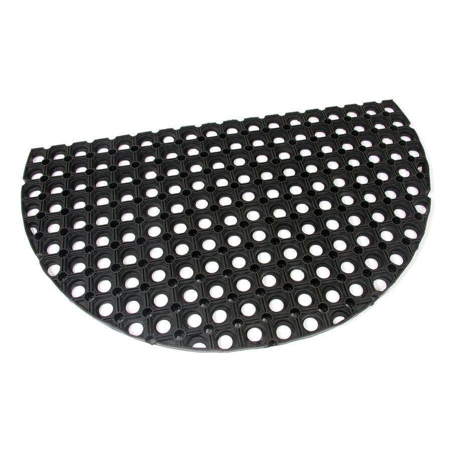 Gumová vstupní venkovní čistící půlkruhová rohož Honeycomb, FLOMAT - délka 45 cm, šířka 75 cm a výška 2,2 cm