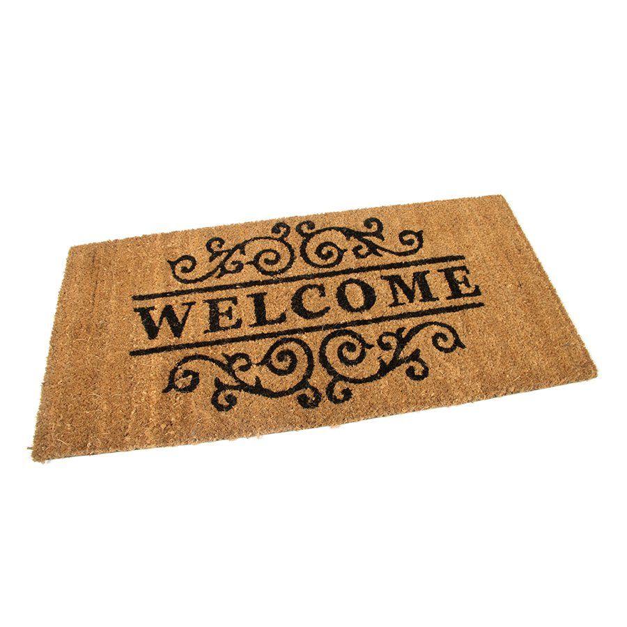 Kokosová vstupní venkovní čistící rohož Welcome - Deco, FLOMAT - délka 40 cm, šířka 80 cm a výška 1,7 cm