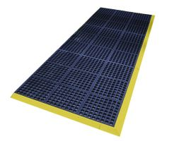 Modrá gumová protiskluzová protiúnavová průmyslová modulární rohož Fatigue - 90 x 90 x 1,8 cm