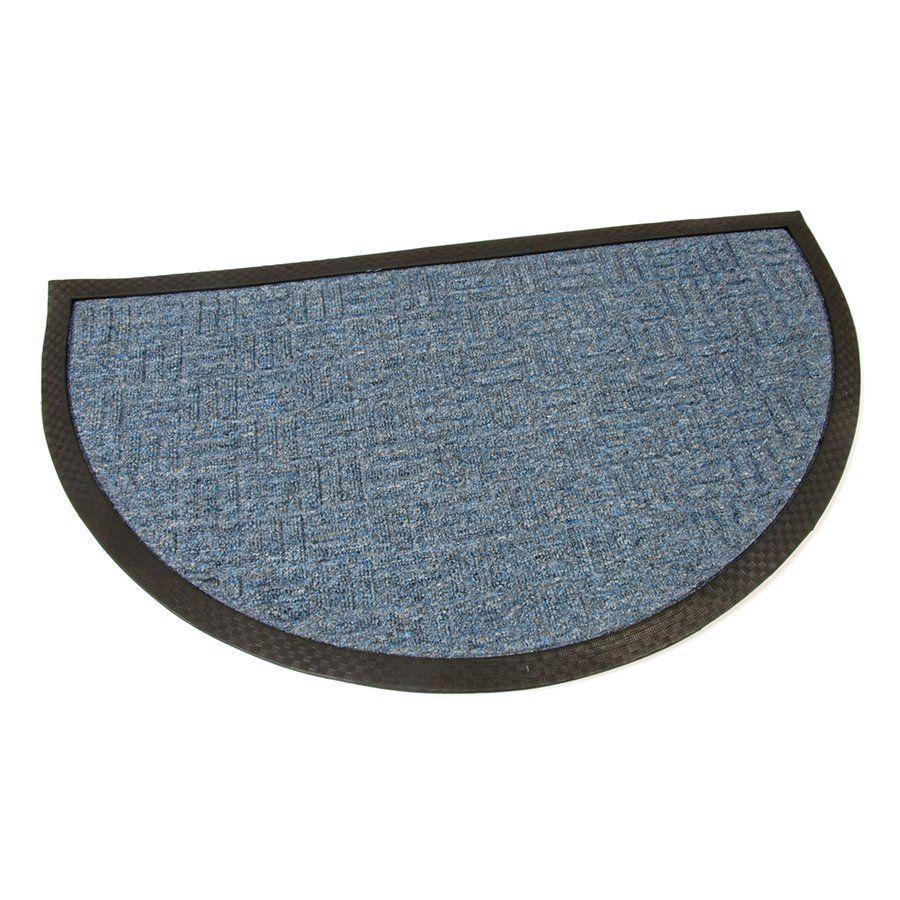 Modrá textilní čistící venkovní vstupní půlkruhová rohož Criss Cross, FLOMAT - délka 45 cm, šířka 75 cm a výška 1 cm