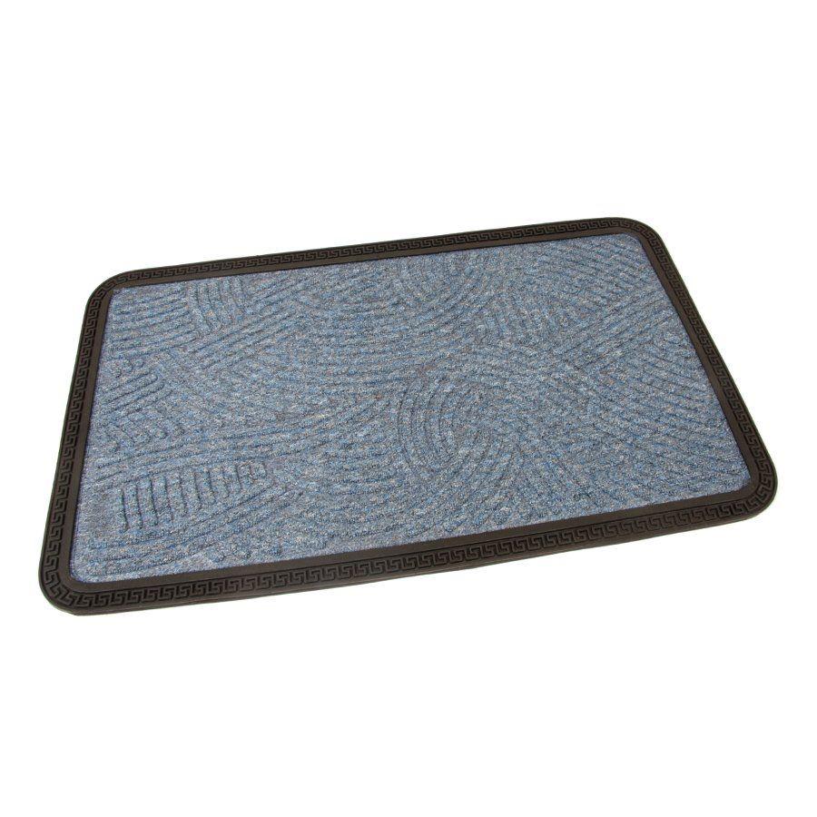 Modrá textilní vstupní venkovní čistící rohož Chaos, FLOMAT - délka 45 cm, šířka 75 cm a výška 0,8 cm