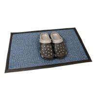 Modrá textilní vstupní venkovní čistící rohož Criss Cross, FLOMAT - délka 45 cm, šířka 75 cm a výška 1 cm