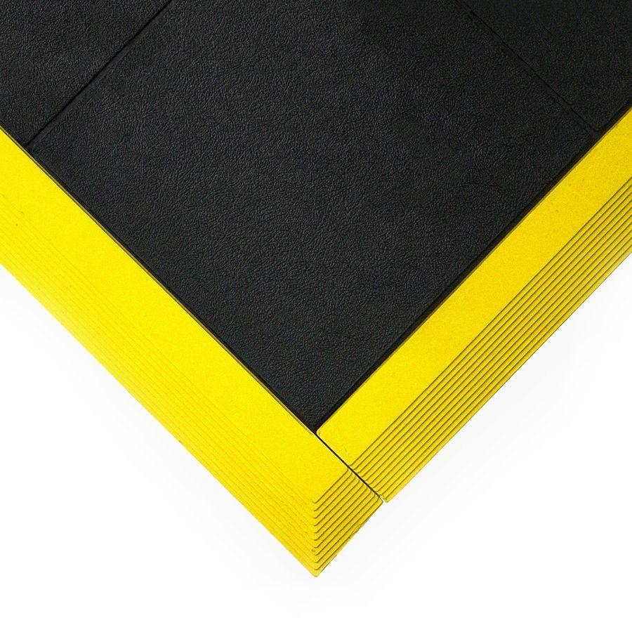 Černá gumová modulární průmyslová protiúnavová protiskluzová olejivzdorná rohož Fatigue - délka 90 cm, šířka 90 cm a výška 1,6 cm FLOMAT