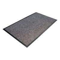 Šedá textilní vstupní vnitřní čistící rohož - délka 90 cm, šířka 150 cm a výška 1 cm FLOMAT