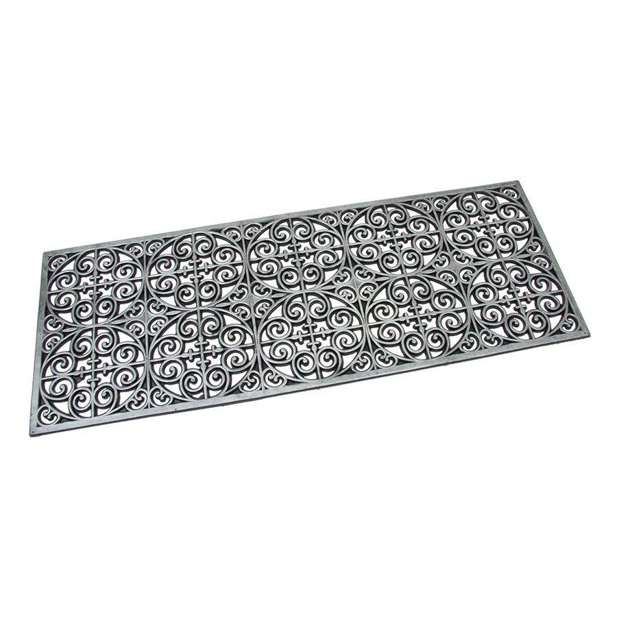 Stříbrná gumová čistící venkovní vstupní rohož Circles - Deco, FLOMAT - délka 45 cm, šířka 120 cm a výška 0,9 cm