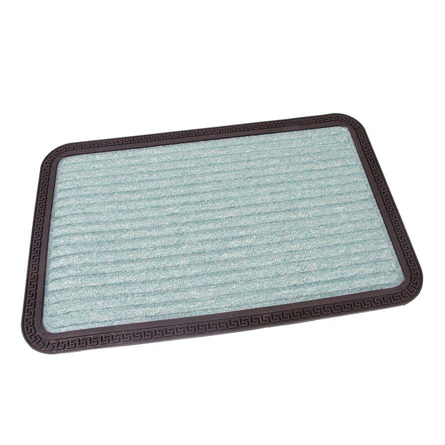 Zelená textilní vstupní venkovní čistící rohož Stripes, FLOMAT - délka 40 cm, šířka 60 cm a výška 0,8 cm