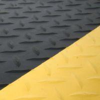 Černo-žlutá gumová protiúnavová průmyslová laminovaná rohož - 90 x 60 x 1,4 cm